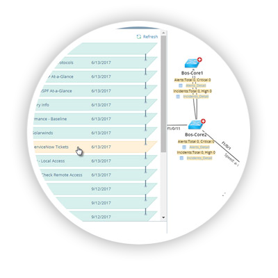 NetBrain's Dynamic Maps are a single pane of glass integrating data from multiple sources, such as, configuration files, CLI commands and 3rd party systems (via API integration)
