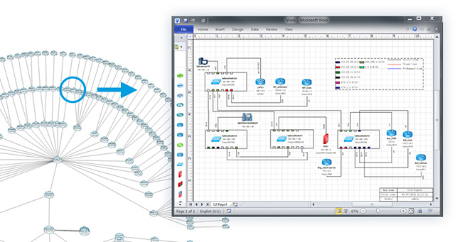 dynamic map export visio network map